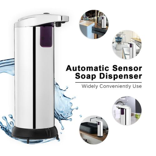 Stainless Steel Automatic Soap Dispenser 280ml Stainless Steel Chrome ABS