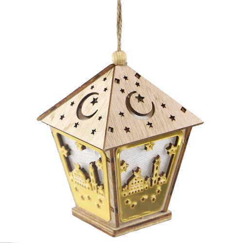 Wooden House L-ED Lamp With String Eid Mubarak Decoration