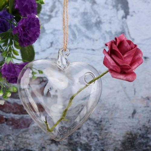 1Pcs Modern Hanging Flower Plant Vase Heart-Shaped Glass Terrarium Container Home Garden Decor Glass Bottle