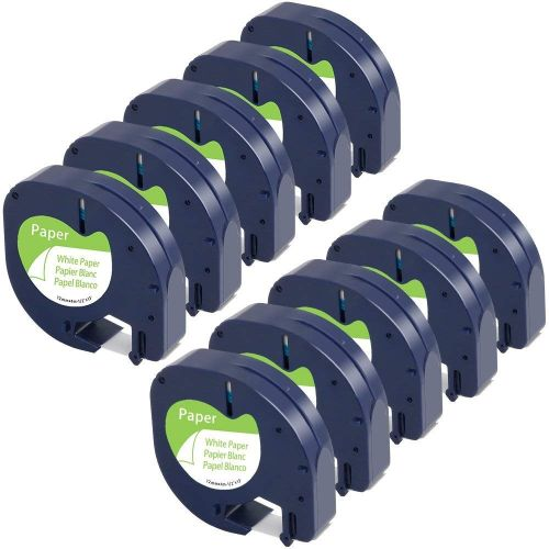 10-Pack Equivalent Dymo Letratag Tape 10697 (91330 S0721510) 1/2'' W X 13' L Self-Adhesive Paper Tape Refills Compatible With Dymo Label Makers Letra Tag Plus LT-100H LT-100T QX50 Black On White 12mm X 4m
