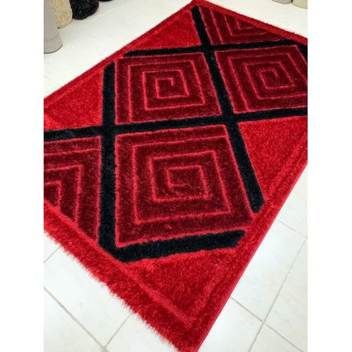 Shaggy Centre Rug- Red