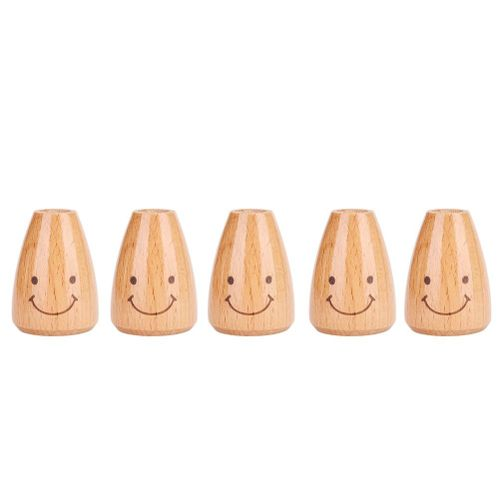 5pcs Cute Smiling Face Wooden Toothpick Box Holder Dispenser Organizer Container Home Kitchen