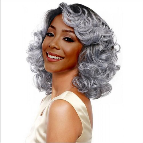 Long Curl Grey Wigs For Women Grey Ringlet Office Lady