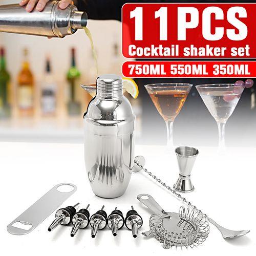 11PCS 500ML Stainless Steel Cocktail Jigger Mixer Bar Drink Shaker Bartender Set