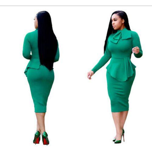 Green Long Sleeve Elegant Bodycon Dress