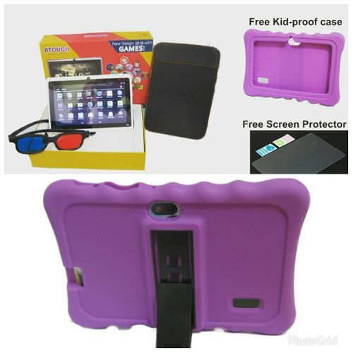 Atouch Android 6.1 Educational Tablet For Kids + Glass Screen Protector With Purple Pouch
