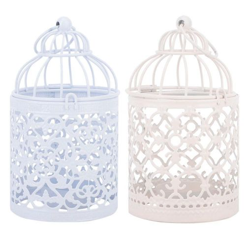Carved Iron Candle Holder Home Ornament Hollow Bird Cage Pattern Candlestick