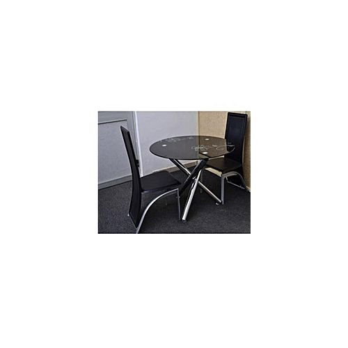 Round Black Dinning Table + 2 Leather Chairs