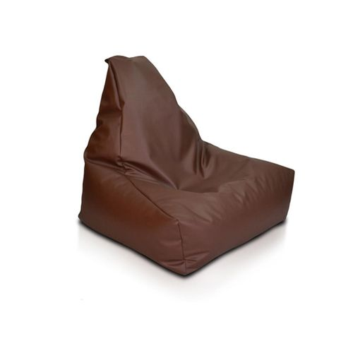 Contemporary Leather Bean Bag Chair - Brown