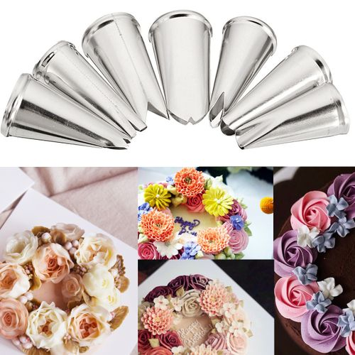 7Pcs Icing Piping Nozzles Tool Kit Cake Cupcake Cookie Sugarcraft Decoration