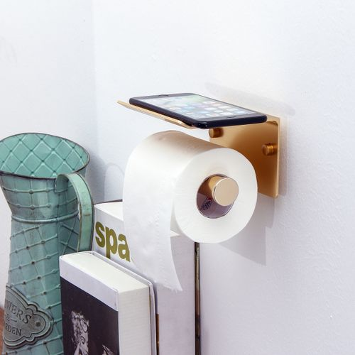 Toilet Paper Roll Phone Holder Home Bathroom Kitchen Wall Mounted Metal Storage