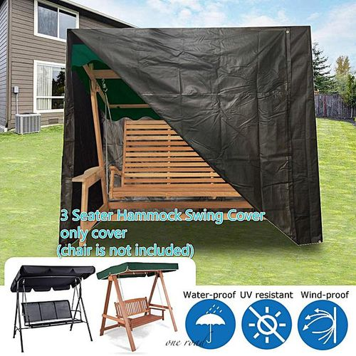 Black 3-Seat Hammock Swing Waterproof Outdoor Garden Furniture Case