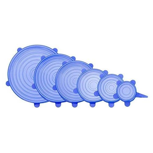 Silicone Stretch Lids Reuseable Food Storage Covers,6 Pack Of Various Sizes Blue