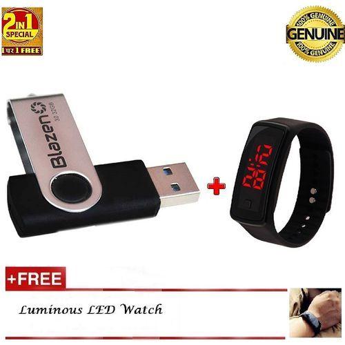 Flash Drive 32GB USB 3.0 + Free LED Watch - Black