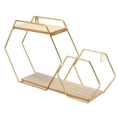 Nordic Wooden Iron Wall Shelf Hexagon Geometric Storage Rack Hanging Organizer For Kitchen Bathroom Home Decoration Holder
