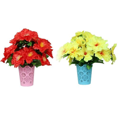 2 Set Of Colored Plastic Vase With Artificial Flowers