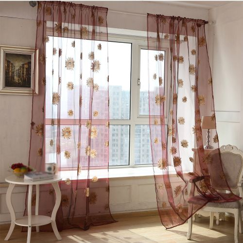 Dtrestocy Top Quality Luxurious Sun Flower Transparent Balcony Curtains WE