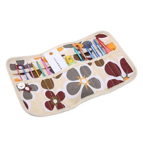 Qianmei 12pcs Aluminium Crochet Hooks Kit With Yarn Knitting Tools DIY Crochet