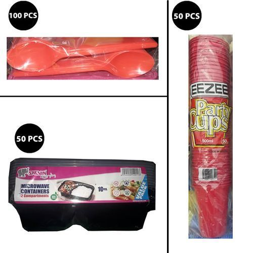 Party Food Container,Plastic, Disposable - Plate, Spoon, Cup
