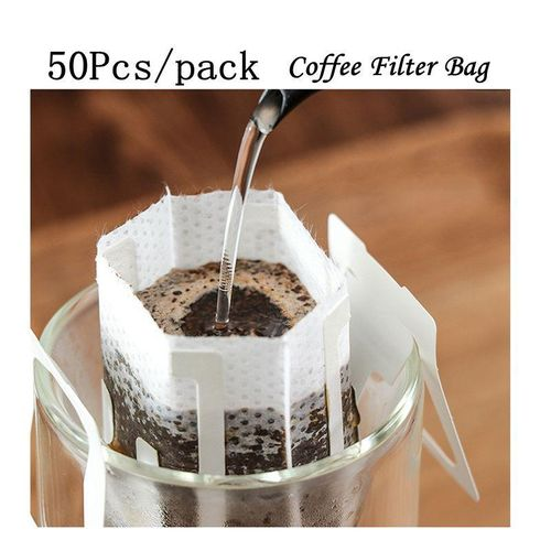 50 Pcs Coffee Drip Filters Bags With Hanging Ear