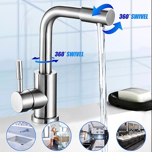 Kitchen Lever Hot Cold Tap Modern Chrome Basin Tap