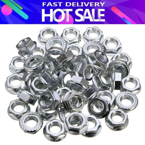 50pcs M12 Thread Zinc Plated Nut Set Serrated Hex Flange Nut Non-slip Lock