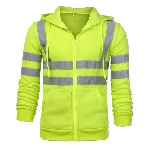 Men Jacket Road Work High Visibility Hooded Outwear Travel Outdoor Tracksuit Reflective Stripe D90520(#Green) CUI