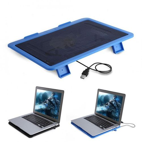 """Laptop Cooler Cooling Pad Base Big Fan USB Stand For 14"""" Or Below Notebook Blue"""