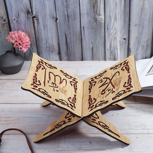 Wooden Bookshelf Eid Bible Stand Carved Book Stand Home Decoration