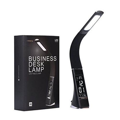 WoodPow Gooseneck LED Office Desk Lamp Touch Leather-Like Dimming Reading Table Lamp Light With Clock Calendar LCD Display(Black)