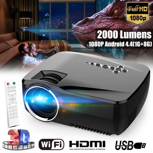 1080P HD Lumens LED Projector Bluetooth WiFi Android 1G+8G 3D Family Theater EU