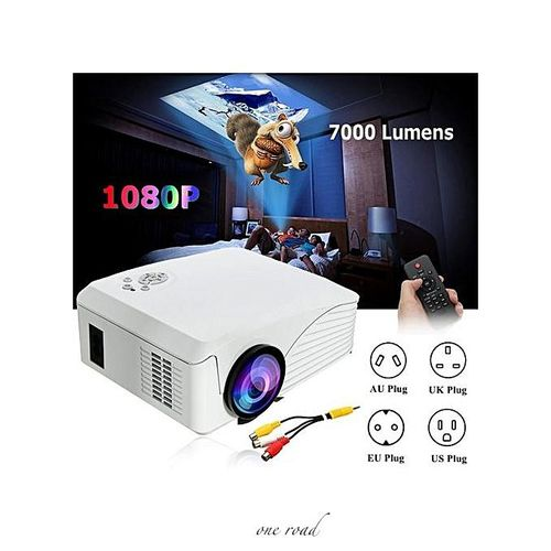 4000 Lumen 1080P Hd Portable Projector 3D Led Multimedia Usb Cinema Uk Plug