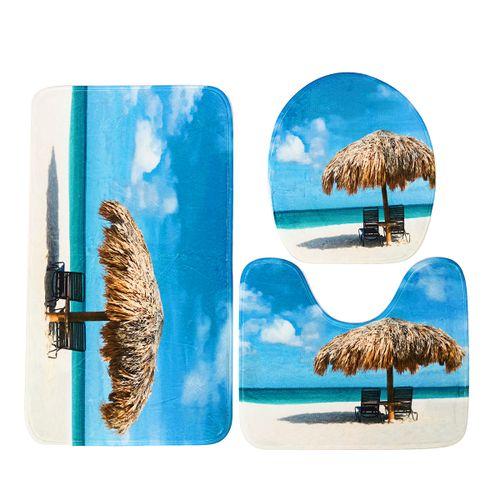 Beach Sea Waterproof Non Slip Bathroom Shower Curtain Toilet Cover Mat Rug Set