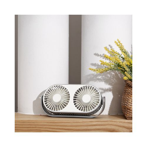 Xmund XD-AQ20 5V USB Double-head Table Desktop Fan 3 Modes Wind Air Cooler 360? Rotating Aromatherapy Electric Fan Outdoor Travel