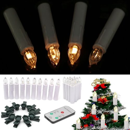 10x Wireless Church Christmas Tree Battery LED Candle Light Remote Control Gifts