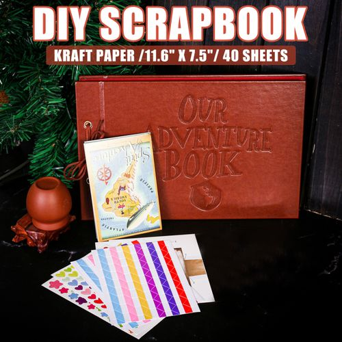 Vintage Photo Album Scrapbook Our Adventure Book Up Self Adhesive Memory DIY
