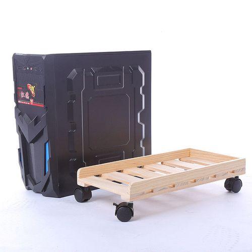 Adjustable Desktop PC Case Computer Stand Holder Rolling Wheels
