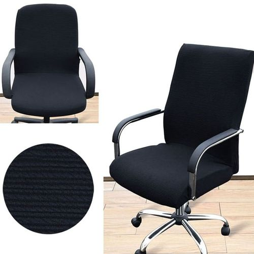 S Spandex Office Chair Cover Slipcover Cover Computer Seat Cover Stool Swivel Chair Elastic(Chair Is NOT Included) # Black