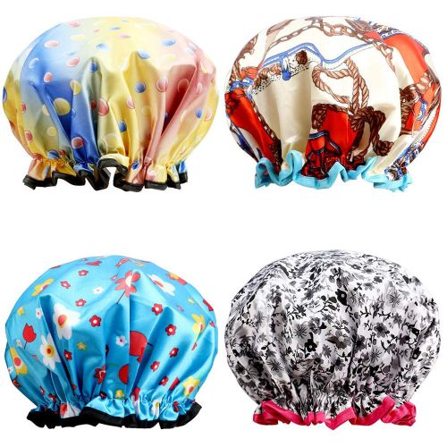 Fenhehu 4pcs Extra Large Bath Caps Perfect For Hair Lengths And Thicknesses Waterproof