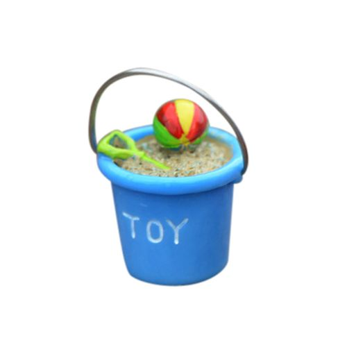 Householding Supplies Resin Miniature Beach Bucket DIY Craft Accessory Home Garden Decoration-Blue