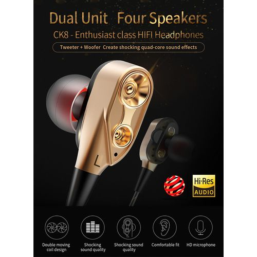 High Quality Metal Earphones In-ear Subwoofer With Microphone Call Mobile Phone MP3 Computer Smart Universal