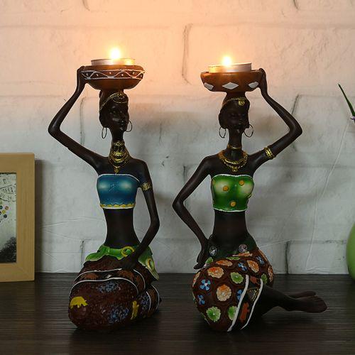2 X Figurine Craft Candlestick African Women Beauty Lady Decorative Statue Resin