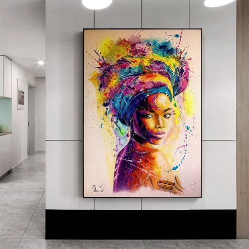 Africa Women Printed Posters Abstract Girl Portrait Canvas Painting Colorful Oil Wall Art Painting For Living Room