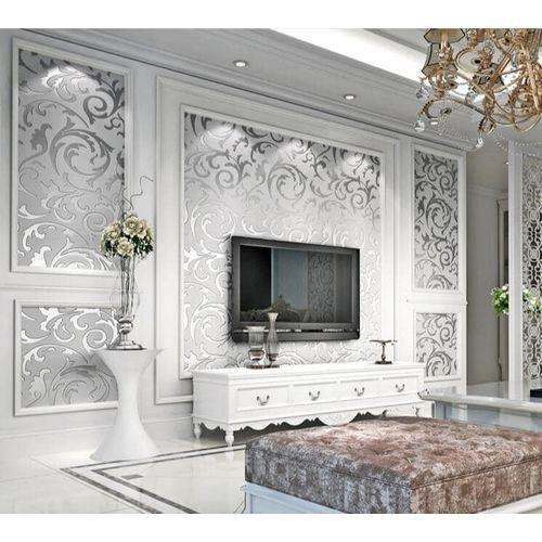 Adore Decor Glittering Silver Grey Wallpaper - 5.3 SQM