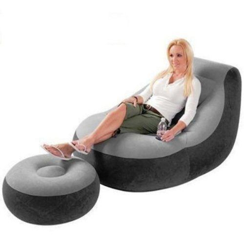 Inflatable Lounge Chair With Leg Rest & Pump