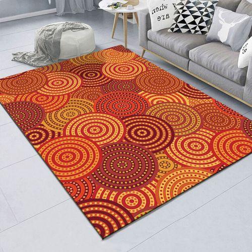Orange Round Bedroom Bedside Blanket Super Soft Carpet Machine Washable