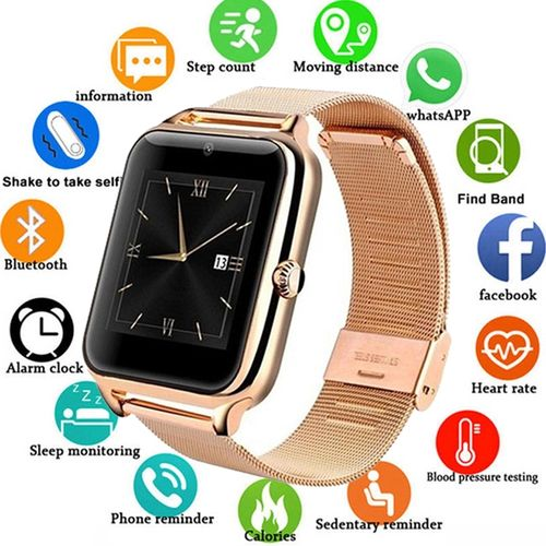 Metal Strap Smartwatch Support Android&IOS--GOLD