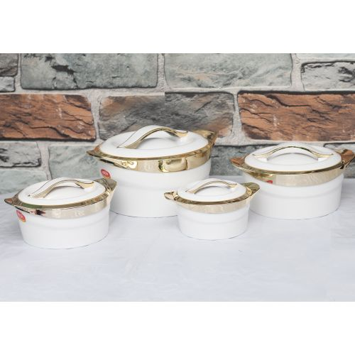 4pcs Spark Metallica Gold Plated Serving Dish Set - White