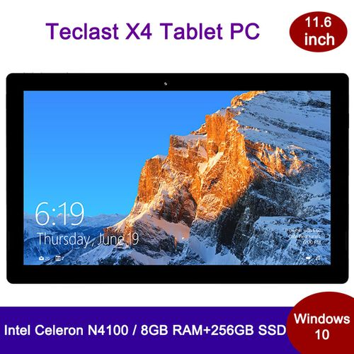 X4 Tablet PC 11.6 Inch Windows 10 Intel Celeron N4100 CPU 2.4GHz 8GB RAM 256GB SSD EU - Silver