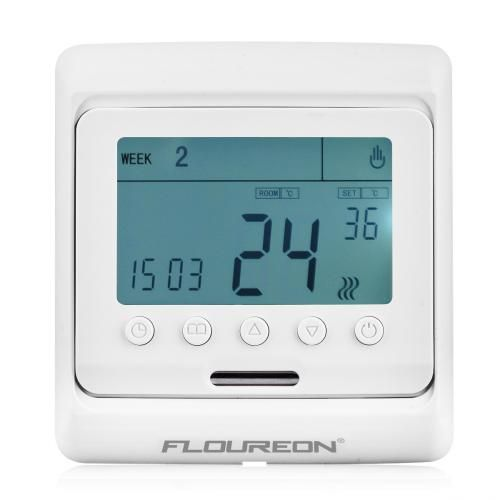 Floureon Digital Temperature Controller Thermostat LCD Display White - White